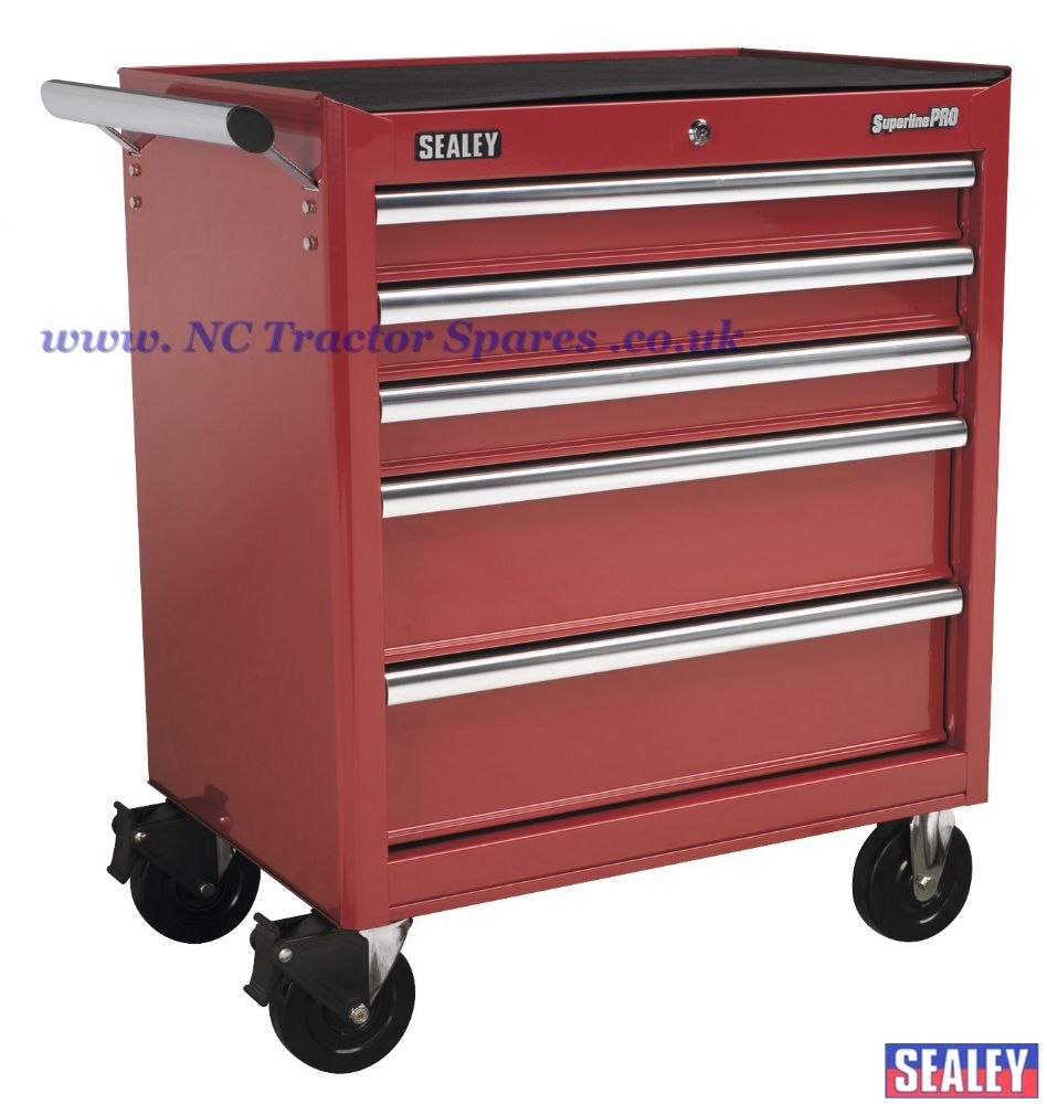 Rollcab 5 Drawer with Ball Bearing Runners - Red